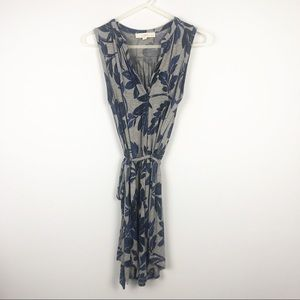 LOFT Tropical Floral Front Tie Dress Grey Blue